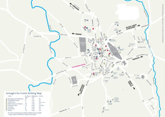 Visit Armagh - Parking on map of northumberland county pa townships, map of northern ireland, map of county armagh ireland,