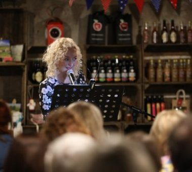 Pictured: Byddi Lee speaking at the Flash Fiction event in Armagh Cider Company.  Picture: Philip Magowan