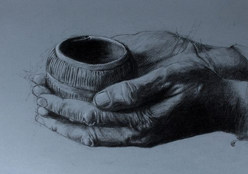 Talisman II, The Pygmy Vessel charcoal, conté on toned paper 33 x 50 cm