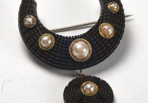 Brooch, hatched bog oak with pearls ARMCM.157.1975